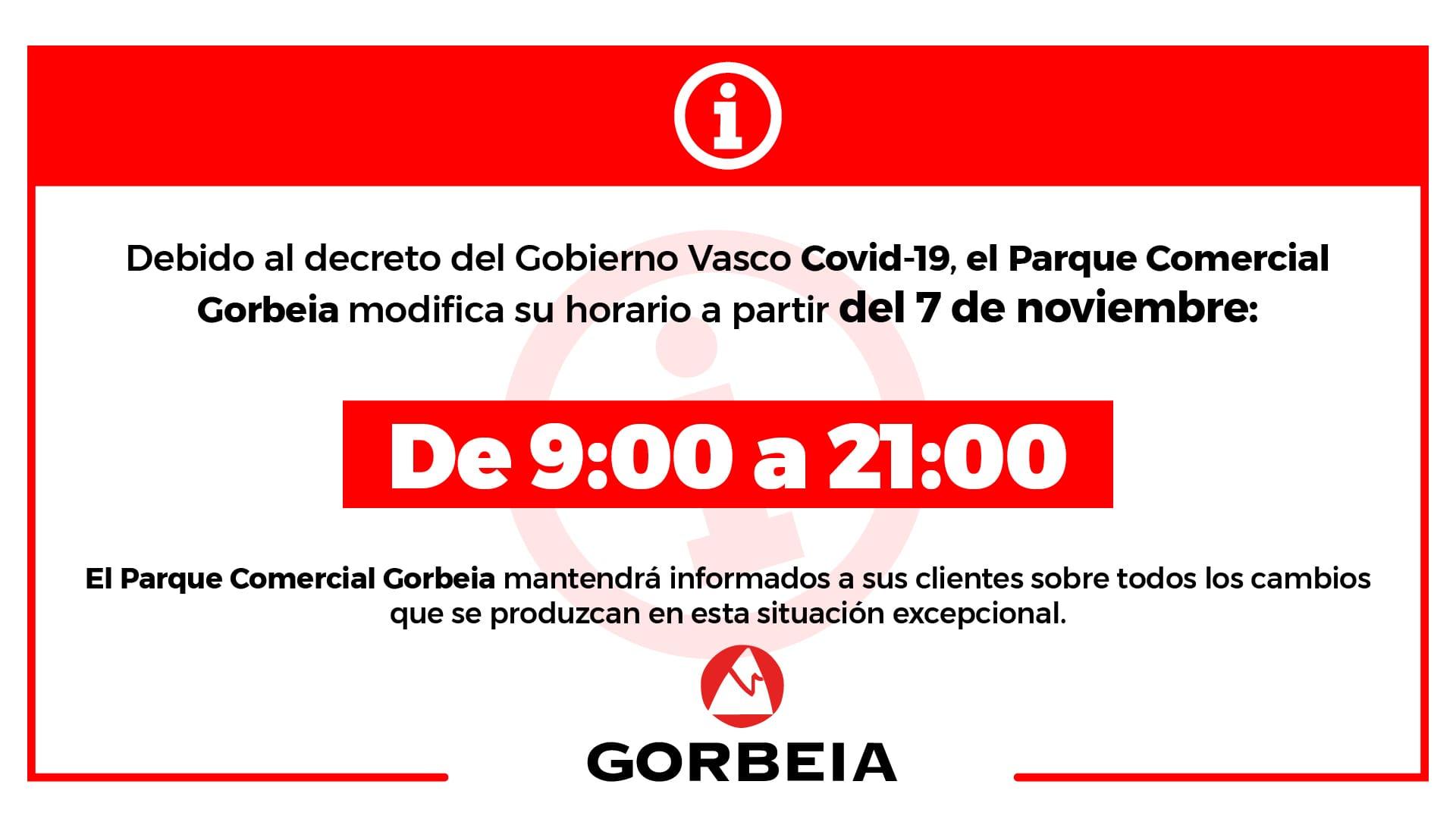 Nuevo horario en Gorbeia (Decreto Gobierno Vasco Covid 19)
