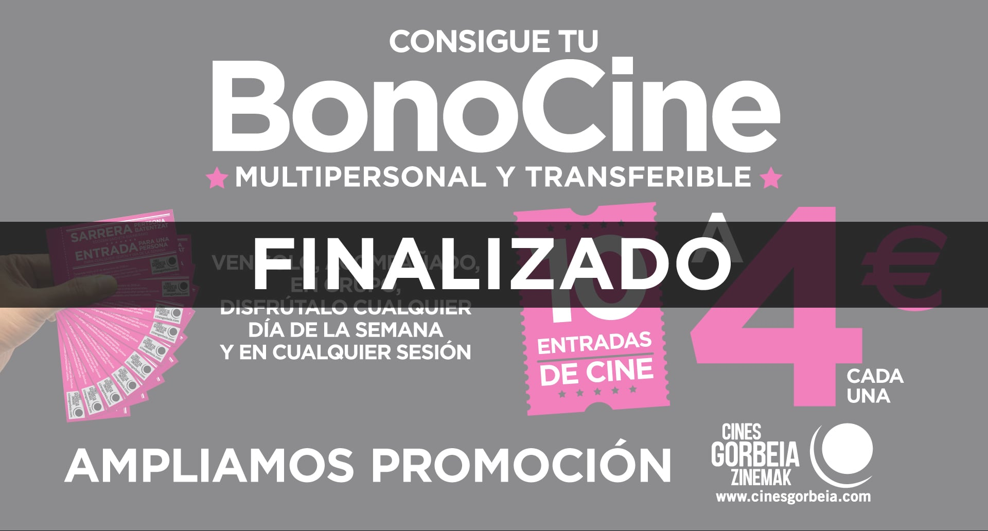 Consigue tu BonoCine multipersonal y transferible