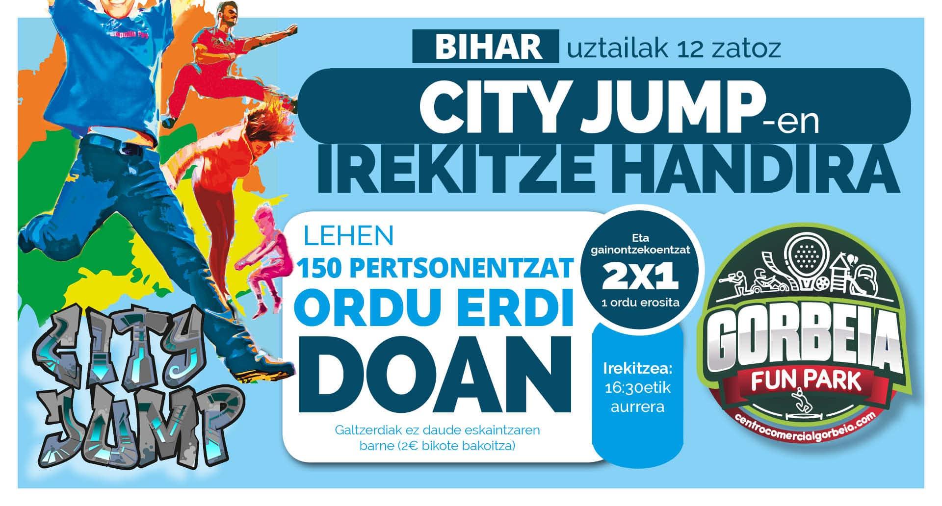 """Gorbeia Merkataritza Guneak ostiralean inauguratuko du """"City Jump"""" Tranpolin Parke berria"""