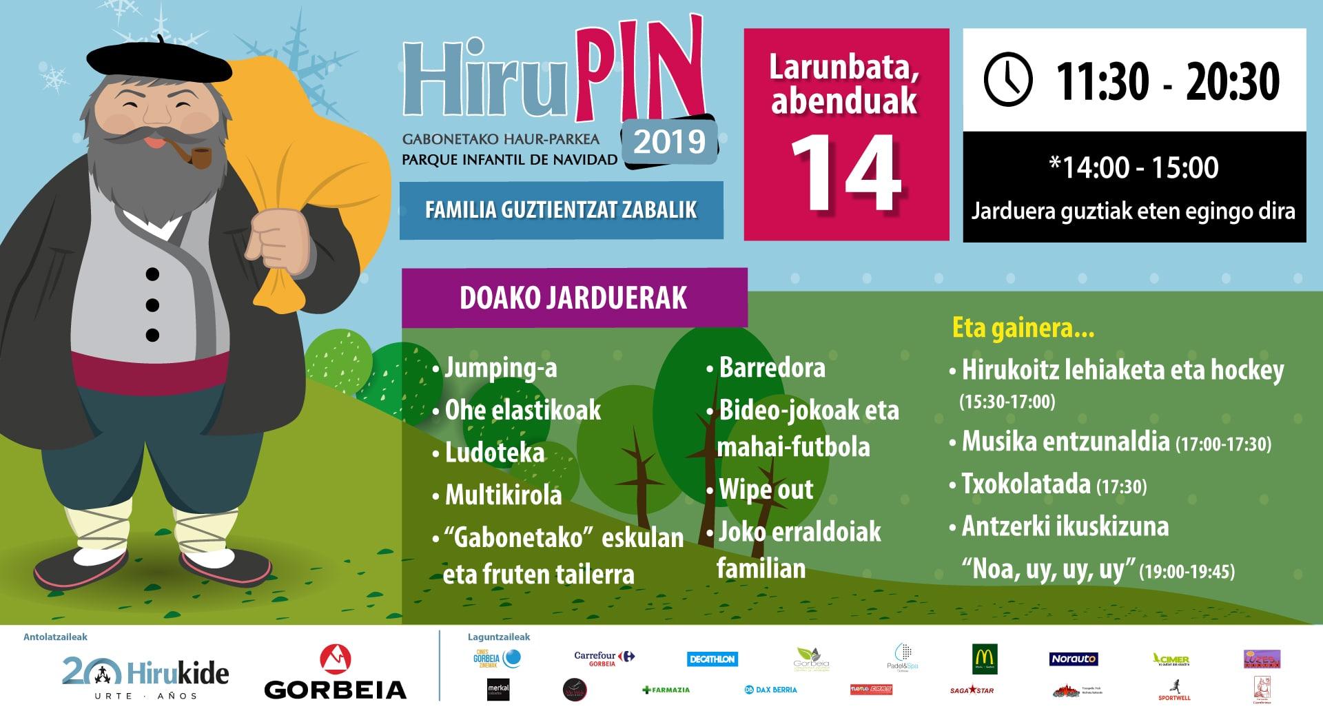 Zatoz Hirupin 2019 Gabonetako Haur-Parkera!